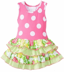 Bonnie Jean Girl's Pink Polka Dot Knit Racerback Tiered Dress FINAL SALE