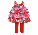 Bonnie Jean Girl's Red Mixed Print Poplin Top Tiered Capri Set