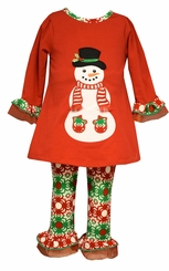 Bonnie Jean Girl's Red Snowman Print Christmas Legging Set