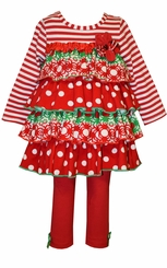 Bonnie Jean Girl's Red Tiered Ruffle Holiday Legging Set