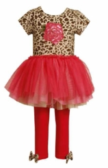 Bonnie Jean Girl's Rose Leopard Bodice Tutu Legging Set  CLEARANCE