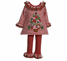 Bonnie Jean: Girl's Red Stripe Christmas Tree Pant Set