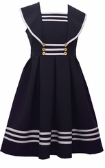 Bonnie Jean Girl's Sailor Collar Gold Button Nautical Dress