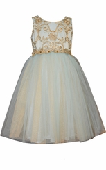 Bonnie Jean Girl's Sleeveless Embroidered Lace Bodice Ballerina Dress