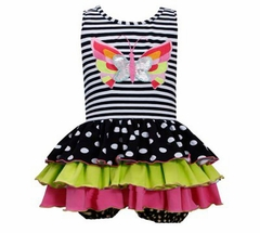 Bonnie Jean Girl's Striped Butterfly Applique Tiered Party Dress