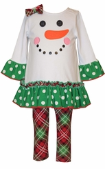 Bonnie Jean Girl's White Snowman Face Christmas Legging Set