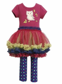 Bonnie Jean Girls Newborn - 6X Owl Tutu Legging Set