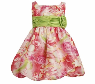 Bonnie Jean Girls 2T - 16 Easter or Spring Pink Floral Bubble Dress SALE