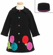 Bonnie Jean Girls Black Bonaz Flower Fleece Coat & Hat Set CLEARANCE