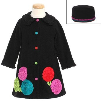 Bonnie Jean Girls Black Bonaz Flower Fleece Coat & Hat Set at Sears.com