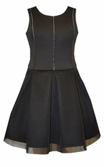 Bonnie Jean Girls Black Formal Party Dress with Sparkle Trim