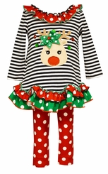 Bonnie Jean Girls Black Stripe Reindeer Legging Set