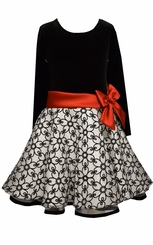 Bonnie Jean Girls Black Velvet Glitter Organza Skirt Holiday Dress