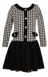 Bonnie Jean Girls Black Windowpane Dress