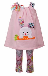 Bonnie Jean Girls Bunny Knit Easter Clothing Set