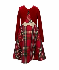 Bonnie Jean Girls Christmas Dress Red Plaid Jacket Dress