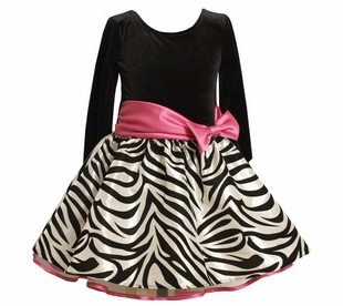 Bonnie Jean Girls Dress - Fuchsia Zebra Hipster Dress with Fuchsia Bow - SOLD OUT