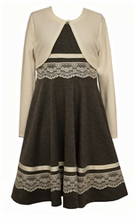 Bonnie Jean Girls Dress Grey Ponte Lace Cardigan Dress
