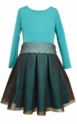 Bonnie Jean Girls Dress Modern Teal Mesh Scuba
