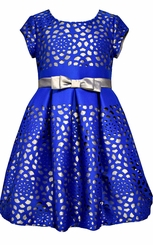 Bonnie Jean Girls Dress Royal Blue Laser Cut Satin