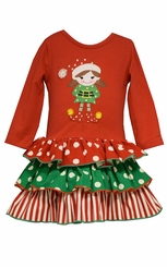Bonnie Jean Girls Elf Tiered Christmas Dress
