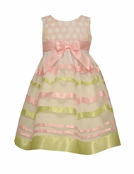 Bonnie Jean Girls' Embroidered Circle Ribbon Special Occasion Dress