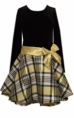 Bonnie Jean Girls Girls Black Velvet Gold Organza Skirt Holiday Dress