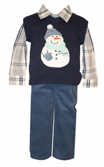 Bonnie Jean Girls Gray Blue Boys Snowman Christmas Pant Set