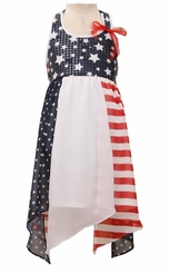 Bonnie Jean  Girls Halter Patriotic 4th of July Dress