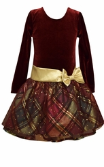 Bonnie Jean Girls Holiday Dress Burgundy Velour Plaid Hipster - sold out