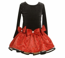 Bonnie Jean Girls Holiday Dress  Red and Black Polka Dot Bow Dress - SIZE 5