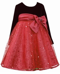 Bonnie Jean Girls Holiday Dress Red and Black Velour - SOLD OUT