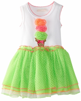 Bonnie Jean -  Infant or Girls Tutu Dress  Lime Ice Cream Cone