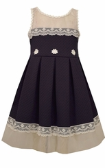 Bonnie Jean Girls' Knit to Lace Trimmed Lace Special Occasion Dress