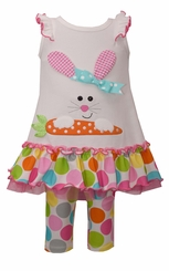 Bonnie Jean Girls Large Dot Bunny Knit Set Easter Outfit