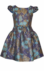 Bonnie Jean Girls Metallic Floral Jacquard Paneled Dress