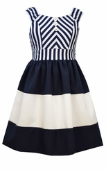 Bonnie Jean Girls Mitered Stripe Nautical Dress