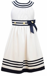 Bonnie Jean Girls Nautical Dress : White Uneck