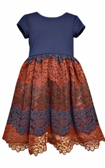 Bonnie Jean Girls Navy Burgundy Lace Dress 7-16