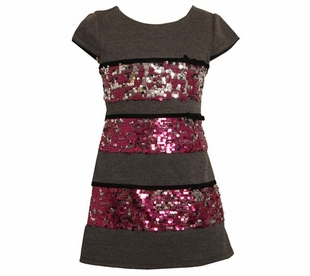 Bonnie Jean Girls Party Dress - Fuchsia Sequin Banded Dress
