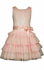 Bonnie Jean Girls Pink Sequin Tiered Party Dress