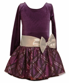 Bonnie Jean Girls Purple Hipster Dress with Silver Bow