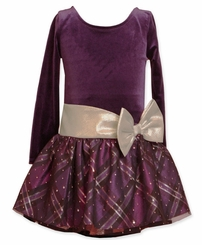Bonnie Jean Girls Purple Hipster Dress with Gold Bow