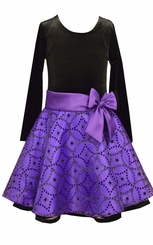 Bonnie Jean Girls Purple Velvet Glitter Organza Skirt Holiday Dress