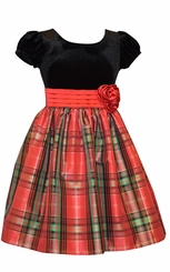 Bonnie Jean Girls Red Tartan Taffeta Holiday Dress