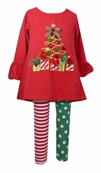 Bonnie Jean Girls Red Tree Knit Christmas Legging Set