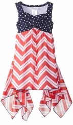 Bonnie Jean Girls Red White Chevron Hanky Hem Dress - SOLD OUT