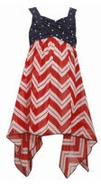 Bonnie Jean Girls Red White Chevron Hanky Hem Dress
