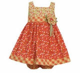 Bonnie Jean Girls's Orange Floral Printed Dress