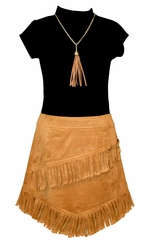 Bonnie Jean Girls Short Sleeve Knit Suede Dress with Necklace
